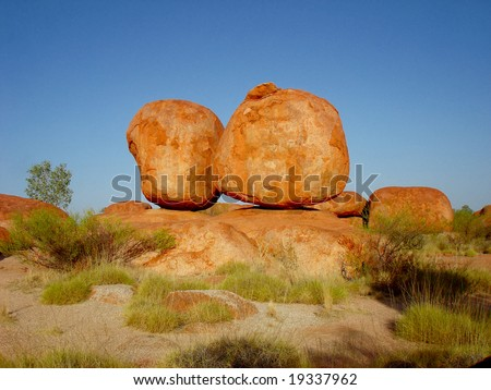 Orange stones - Devil´s Marbles - stock photo