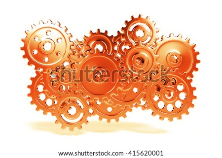 orange stylized gear wheel system floating in a white environment (3d illustration) - stock photo