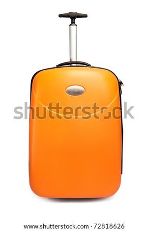 Orange suitcase for travel - stock photo
