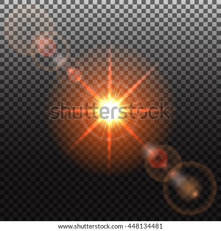 Orange Sun and solar flare, special effect of bright star, glowing burst, transparent shine light effect, illustration. - stock photo