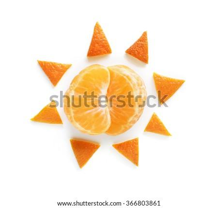Orange sun food art - stock photo
