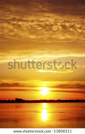 orange sundown - stock photo