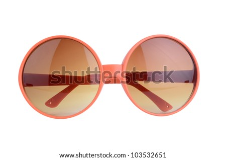 orange sunglasses isolated on a white background - stock photo