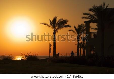 orange sunrise in Marsa Alam beach - stock photo