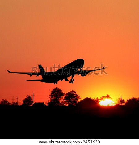 orange sunrise with tree and airplane silhouette