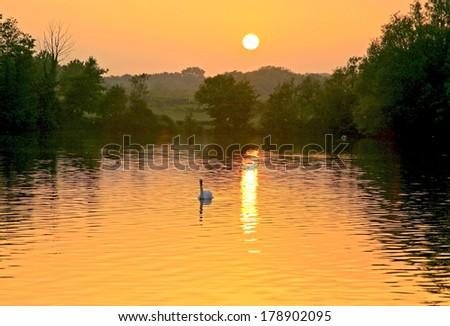 orange sunset lake - stock photo