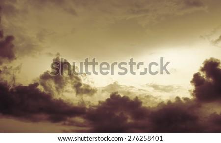 orange sunset sky . Beautiful sky. - stock photo
