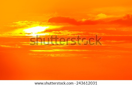 Orange sunset sky for background - stock photo