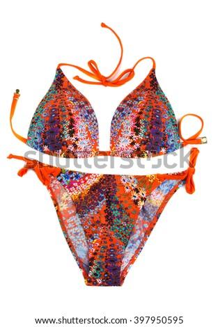 Orange swimsuit. Isolate on white. - stock photo