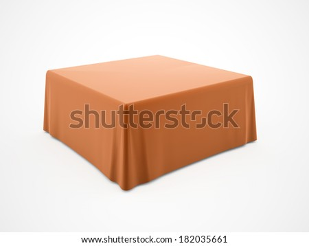 Orange tablecloth on table isolated on white background