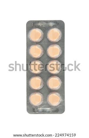 Orange tablet in blister pack show medicine concept - stock photo