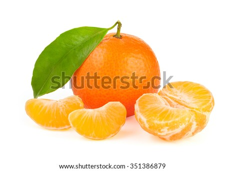 Orange tangerine with segments isolated on white background - stock photo