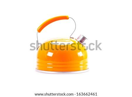 Orange  tea kettle isolated on white background - stock photo