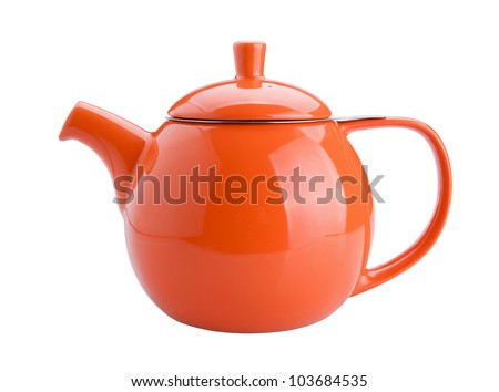 orange teapot isolated on white background - stock photo