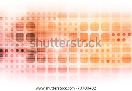 Orange Technology Network with a Data Grid System - stock photo