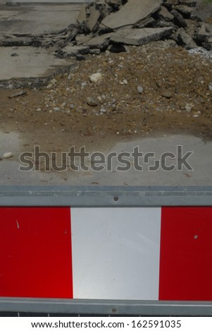 orange temporary boundary fencing at a construction site - stock photo