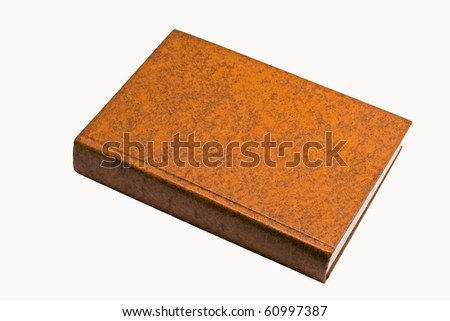 Orange thick book, leather skin cover - stock photo