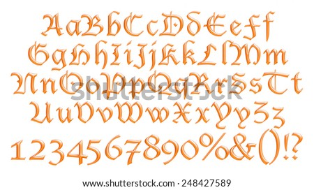 Orange three dimension alphabet set - stock photo