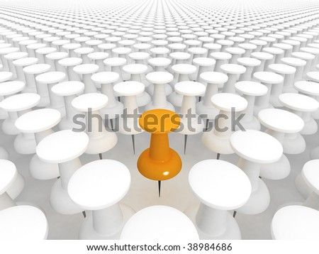 Orange thumbtack standing out from the white crowd of others - stock photo