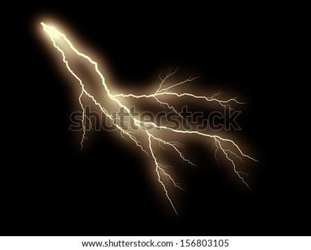 orange thunderbolt on black background - stock photo