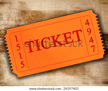 orange ticket on an old paper texture