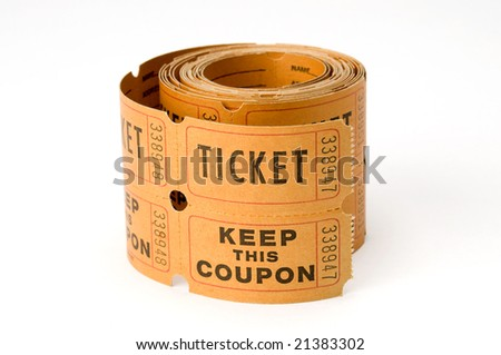 orange ticket stubs on white background, either say ticket or keep this coupon - stock photo