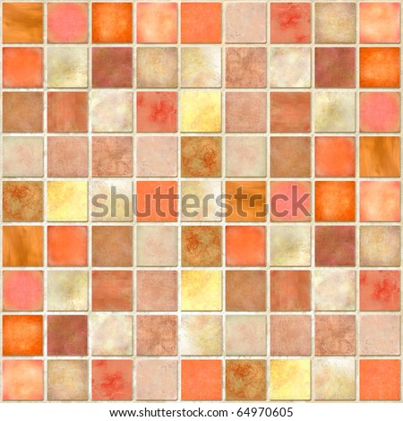 Orange Tile Mosaic - stock photo