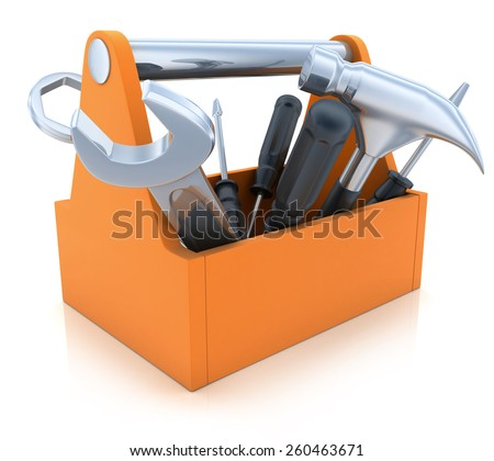 Orange Toolbox on white  background (done in 3d)    - stock photo