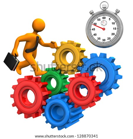 Orange toon with colorful gears and stopwatch. - stock photo