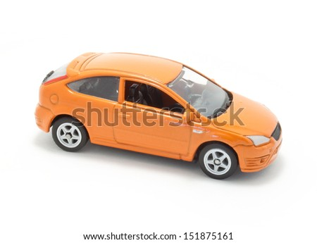Orange toy car isolated on a white background. - stock photo