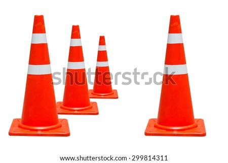 orange traffic cones isolate on white - stock photo