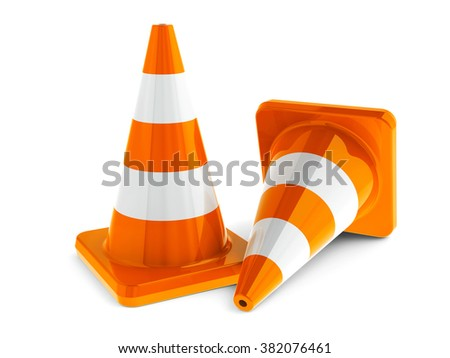 Orange traffic cones on a white table represents work in progress, three-dimensional rendering