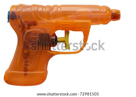 Orange transparent plastic water pistol isolated on a white background. Clipping path included. - stock photo