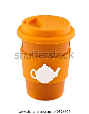 Orange travel mug isolated on white background - stock photo