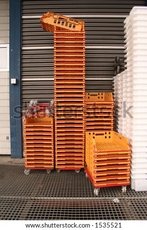Orange trolleys - stock photo