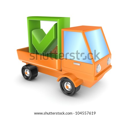 Orange truck with a green tick mark.Isolated on white background.3d rendered. - stock photo