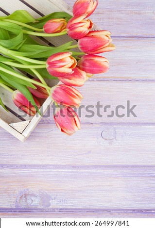 Orange tulips over wooden table. Top view with copy space - stock photo