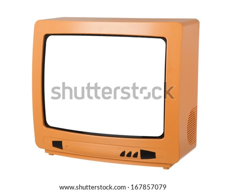 Orange TV isolated on white background - stock photo
