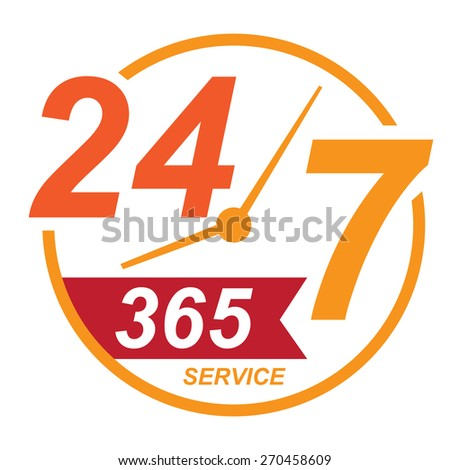 orange 24 7 365, twenty four seven, round the clock service sticker, icon, label, banner, sign isolated on white  - stock photo