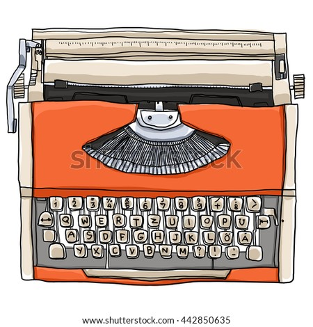 Orange Typewriter vintage  art illustration