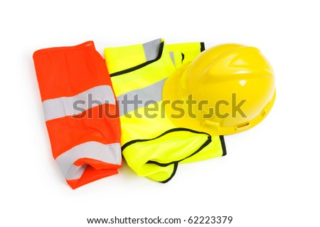 Orange vest and hardhat isolated on the white