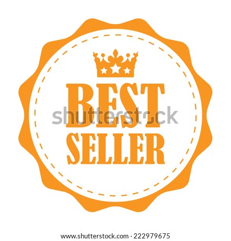 Orange Vintage Best Seller Icon, Label or Sticker Isolated on White Background