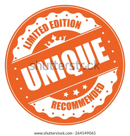 Orange Vintage Circle Unique Limited Edition Recommended Badge, Banner, Sign, Tag, Label, Sticker or Icon Isolated on White Background - stock photo
