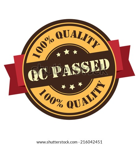 Orange Vintage QC Passed 100% Guarantee Icon, Badge, Sticker or Label Isolated on White Background