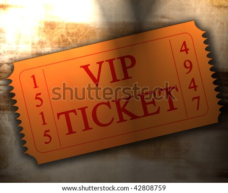 orange VIP ticket on an old paper texture