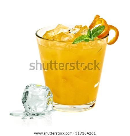Orange vodka with ice cubes isolated on white background - stock photo