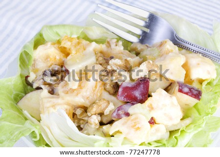 Orange waldorf salad made from oranges, walnuts, apples, pineapple with an orange yogurt-honey dressing.