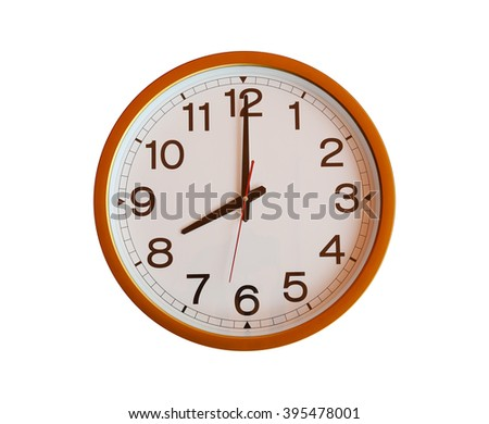 orange wall clock isolated in eight o'clock on white background. - stock photo