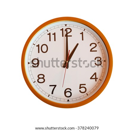 orange wall clock isolated in one o'clock on white background.