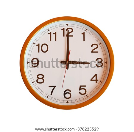 orange wall clock isolated in three o'clock on white background.
